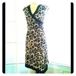 Black and white wrap style dress