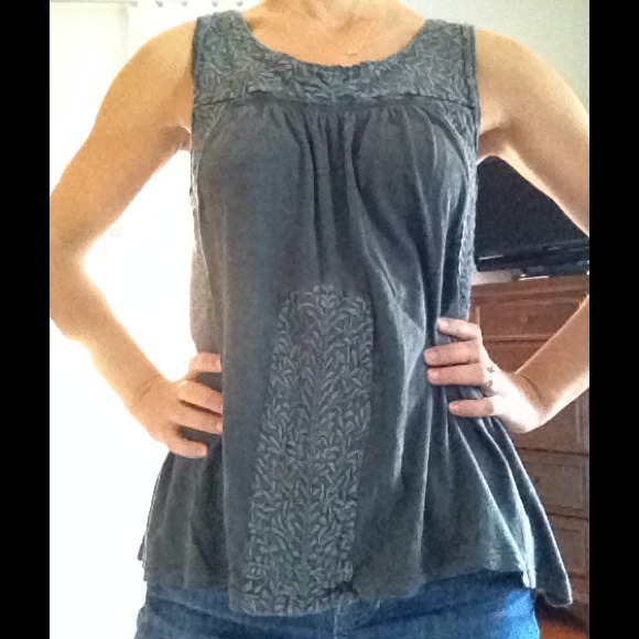Free People Tops - Free People Gray Tank w/Embroidery Detail 2