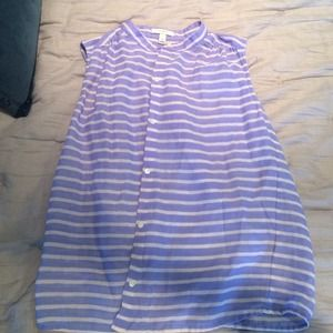 J. Crew Tops - J.Crew hydrangea blue striped shirt