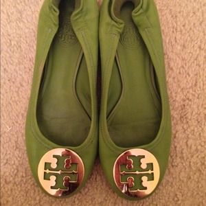 Tory Burch Green Leather Reva Flats 5.5