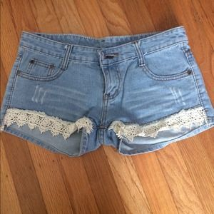 Size 25 crochet light denim shorts