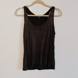 GAP Tops - Gap Racerback Gold Shimmer Black Tank Top