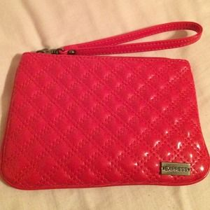Express Red Patent Quilted Wristlet