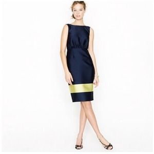 Jcrew colorblock silk v back dress