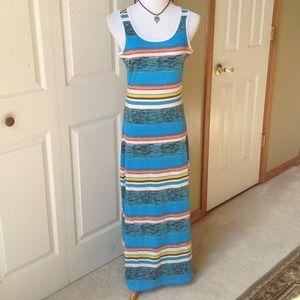 Turquoise Multi Stripes Maxi Dress