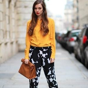 Zara black white cow abstract lightweight pant M