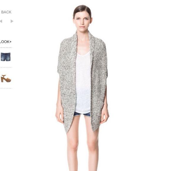 Zara - Zara grey marled kimono Oversized wrap cardigan M from ...