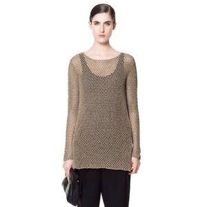 Zara olive green open Knitted net sweater M