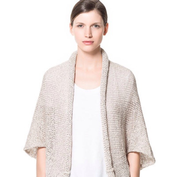 Zara - Zara beige kimono Oversized Knitted wrap cardigan from ...