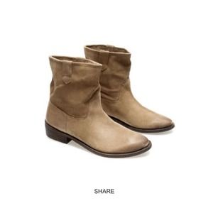 Zara real leather taupe suede ankle boots 8 eu 39