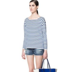 Zara blue white striped Nautical Sailor sweater L