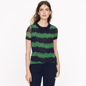 J.crew silk ruffle top in beanstalk stripe