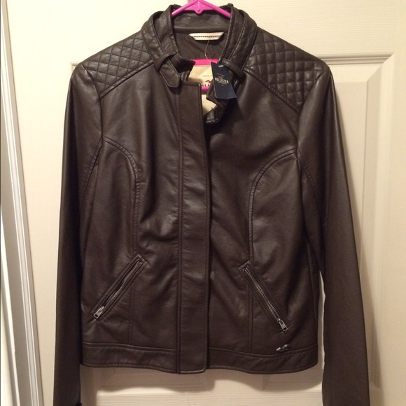 hollister leather jacket
