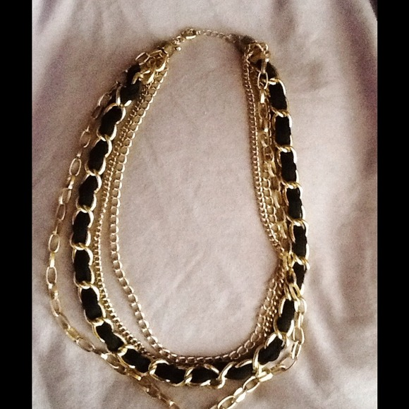 Black And Gold Chain Necklace Gold Chain Necklace With Black
