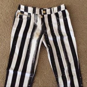 Luella Denim - Luella Black & White Striped Cigarette Jeans UK 8