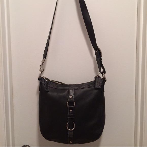 1e530ed5f579 Coach Handbags - Coach F14018 Black Large Leather Cross Body Bag