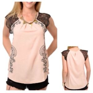 Tops - SALE Peach & Black Paisley Motif Top