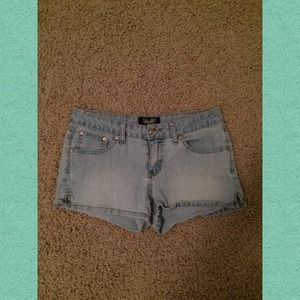 High waisted light denim shorts