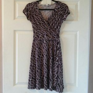 Brown and White Wrap Dress - Size S