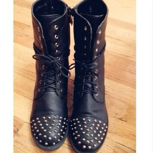 Boots - Black studded combat boots