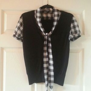 SOLD - Black & White Gingham Sweater - Size M