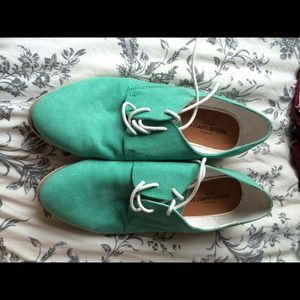 Teal Faux Suede Loafers