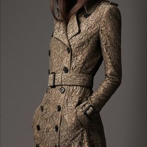Burberry Long Lace Pebble Trench Coat 12 NWT