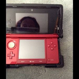 Red 3ds with nerd case