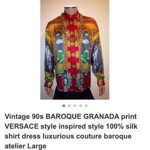 Vintage 90s BAROQUE GRANADA print VERSACE silk