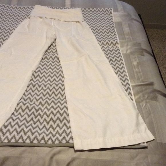 77% off bella dahl Pants - Wide leg fold over white linen pant ...