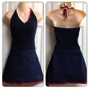 EUC Tommy Hilfiger Halter top and jean skirt S
