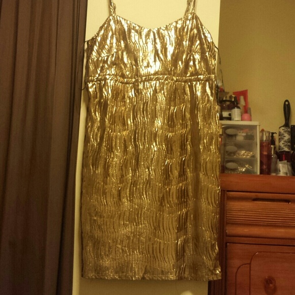 c6783c7cc30 Plus size metallic gold party dress NWT