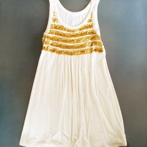 Xhilaration Dresses - Off white dress with gold sequin stripes