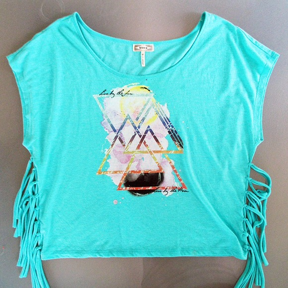PacSun Tops - Teal graphic fringe tee
