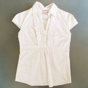 Merona Tops - Off white button up with ruffle trim