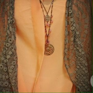 Oasap Tops - Peach tie-front blouse