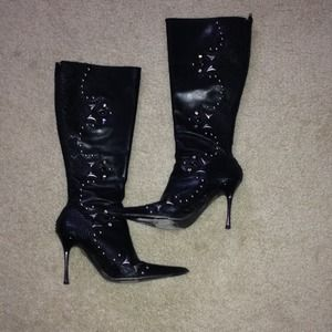 Aldo Black and Silver Studded Boots