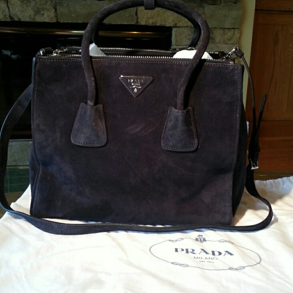 0daaa1696b35 Blue-Glace Suede Medium Double Zip Tote. NWT. Prada