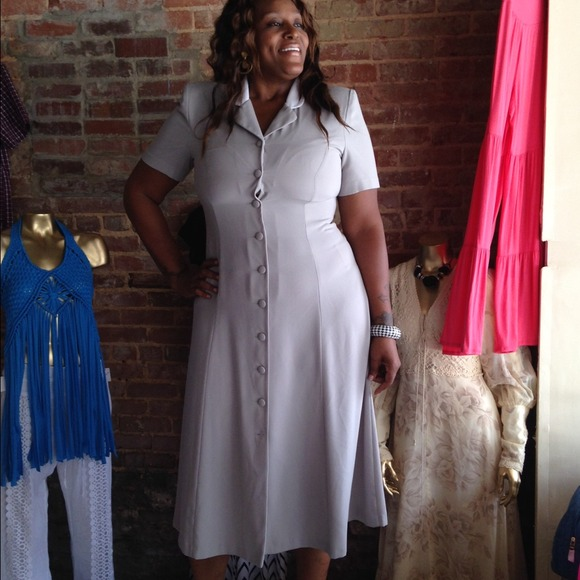 Retro Plus Size button down maxi collar dress