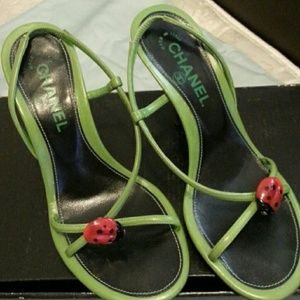 Chanel green leather slingback sandal
