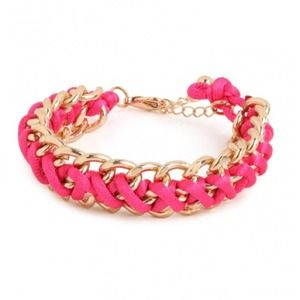 Bauble Bar Jewelry - Bauble Bar braided chain bracelet in bright pink.