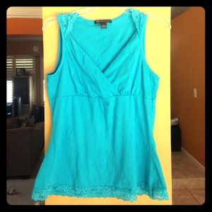 Turquoise top with lace detail