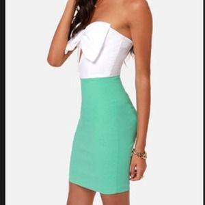 Lulu's strapless bow dress cream and teal