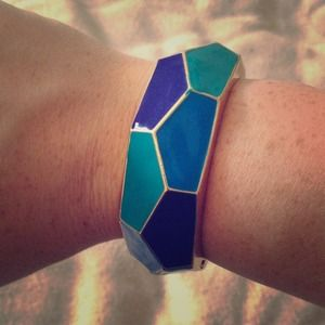 Blue and gold chunk bracelet