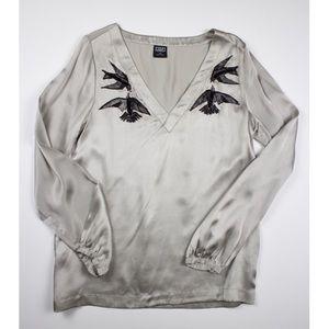 EDUN Tops - Stunning 100% silk blouse with beaded bird detail
