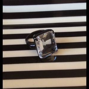 J. Crew Clear Stone w/ Black Setting Ring - Size 8