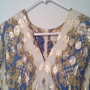 Vintage Stunning Dress w/ gold threading, applique