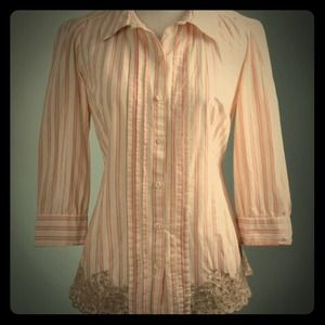 Anthropologie Button down embroidered blouse