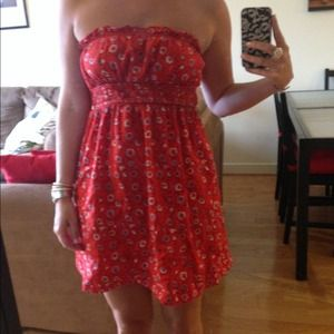 Free people red floral dress. Size 4