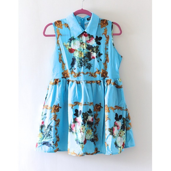 570b7d43e5a ROMWE Retro Printing Blue Dress. M 53a99c967819507c33314742